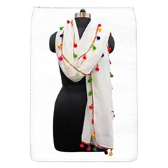 Indiahandycrfats Women Fashion White Dupatta With Multicolour Pompom All Four Sides For Girls/women Removable Flap Cover (s) by Indianhandycrafts