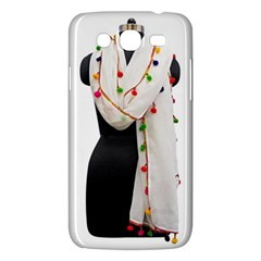 Indiahandycrfats Women Fashion White Dupatta With Multicolour Pompom All Four Sides For Girls/women Samsung Galaxy Mega 5 8 I9152 Hardshell Case  by Indianhandycrafts