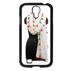 Indiahandycrfats Women Fashion White Dupatta With Multicolour Pompom All Four Sides For Girls/women Samsung Galaxy S4 I9500/ I9505 Case (black) by Indianhandycrafts