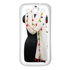 Indiahandycrfats Women Fashion White Dupatta With Multicolour Pompom All Four Sides For Girls/women Samsung Galaxy S3 Back Case (white) by Indianhandycrafts