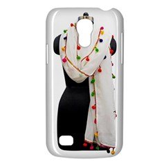 Indiahandycrfats Women Fashion White Dupatta With Multicolour Pompom All Four Sides For Girls/women Samsung Galaxy S4 Mini (gt I9190) Hardshell Case  by Indianhandycrafts