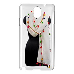 Indiahandycrfats Women Fashion White Dupatta With Multicolour Pompom All Four Sides For Girls/women Samsung Galaxy Note 3 N9005 Hardshell Case by Indianhandycrafts