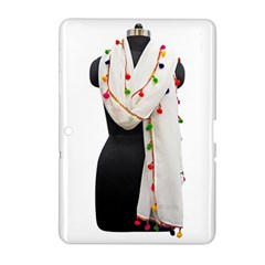 Indiahandycrfats Women Fashion White Dupatta With Multicolour Pompom All Four Sides For Girls/women Samsung Galaxy Tab 2 (10 1 ) P5100 Hardshell Case  by Indianhandycrafts