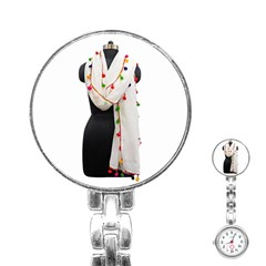 Indiahandycrfats Women Fashion White Dupatta With Multicolour Pompom All Four Sides For Girls/women Stainless Steel Nurses Watch by Indianhandycrafts