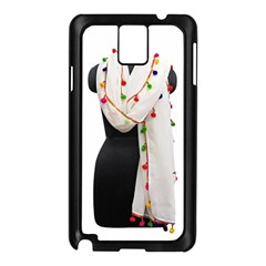 Indiahandycrfats Women Fashion White Dupatta With Multicolour Pompom All Four Sides For Girls/women Samsung Galaxy Note 3 N9005 Case (black) by Indianhandycrafts