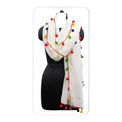 Indiahandycrfats Women Fashion White Dupatta With Multicolour Pompom All Four Sides For Girls/women Samsung Galaxy Note 3 N9005 Hardshell Back Case by Indianhandycrafts