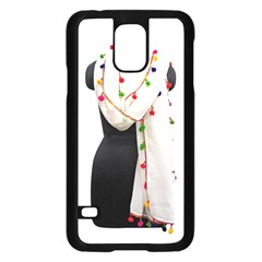 Indiahandycrfats Women Fashion White Dupatta With Multicolour Pompom All Four Sides For Girls/women Samsung Galaxy S5 Case (black) by Indianhandycrafts