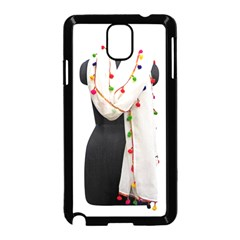 Indiahandycrfats Women Fashion White Dupatta With Multicolour Pompom All Four Sides For Girls/women Samsung Galaxy Note 3 Neo Hardshell Case (black) by Indianhandycrafts