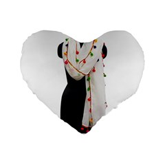 Indiahandycrfats Women Fashion White Dupatta With Multicolour Pompom All Four Sides For Girls/women Standard 16  Premium Flano Heart Shape Cushions by Indianhandycrafts