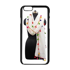 Indiahandycrfats Women Fashion White Dupatta With Multicolour Pompom All Four Sides For Girls/women Apple Iphone 6/6s Black Enamel Case by Indianhandycrafts