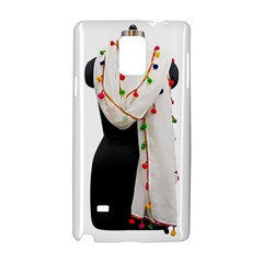 Indiahandycrfats Women Fashion White Dupatta With Multicolour Pompom All Four Sides For Girls/women Samsung Galaxy Note 4 Hardshell Case by Indianhandycrafts