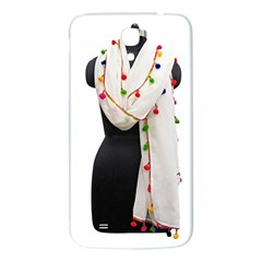 Indiahandycrfats Women Fashion White Dupatta With Multicolour Pompom All Four Sides For Girls/women Samsung Galaxy Mega I9200 Hardshell Back Case by Indianhandycrafts