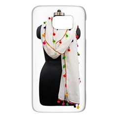 Indiahandycrfats Women Fashion White Dupatta With Multicolour Pompom All Four Sides For Girls/women Samsung Galaxy S6 Hardshell Case  by Indianhandycrafts