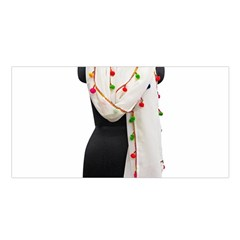 Indiahandycrfats Women Fashion White Dupatta With Multicolour Pompom All Four Sides For Girls/women Satin Shawl by Indianhandycrafts