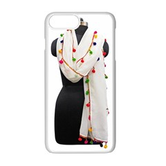 Indiahandycrfats Women Fashion White Dupatta With Multicolour Pompom All Four Sides For Girls/women Apple Iphone 7 Plus Seamless Case (white) by Indianhandycrafts