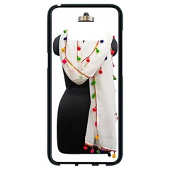 Indiahandycrfats Women Fashion White Dupatta With Multicolour Pompom All Four Sides For Girls/women Samsung Galaxy S8 Black Seamless Case by Indianhandycrafts