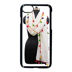 Indiahandycrfats Women Fashion White Dupatta With Multicolour Pompom All Four Sides For Girls/women Apple Iphone 8 Seamless Case (black) by Indianhandycrafts