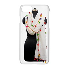 Indiahandycrfats Women Fashion White Dupatta With Multicolour Pompom All Four Sides For Girls/women Apple Iphone 8 Hardshell Case by Indianhandycrafts