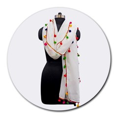 Indiahandycrfats Women Fashion White Dupatta With Multicolour Pompom All Four Sides For Girls/women Round Mousepads by Indianhandycrafts