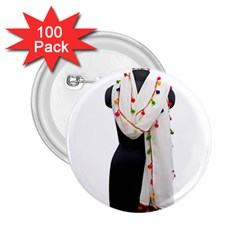 Indiahandycrfats Women Fashion White Dupatta With Multicolour Pompom All Four Sides For Girls/women 2 25  Buttons (100 Pack)  by Indianhandycrafts