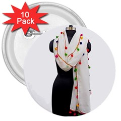 Indiahandycrfats Women Fashion White Dupatta With Multicolour Pompom All Four Sides For Girls/women 3  Buttons (10 Pack)  by Indianhandycrafts