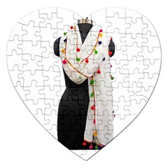 Indiahandycrfats Women Fashion White Dupatta With Multicolour Pompom All Four Sides For Girls/women Jigsaw Puzzle (heart) by Indianhandycrafts