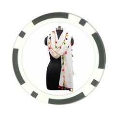 Indiahandycrfats Women Fashion White Dupatta With Multicolour Pompom All Four Sides For Girls/women Poker Chip Card Guard by Indianhandycrafts