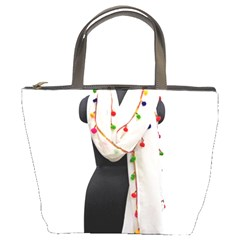 Indiahandycrfats Women Fashion White Dupatta With Multicolour Pompom All Four Sides For Girls/women Bucket Bag by Indianhandycrafts