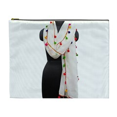 Indiahandycrfats Women Fashion White Dupatta With Multicolour Pompom All Four Sides For Girls/women Cosmetic Bag (xl) by Indianhandycrafts