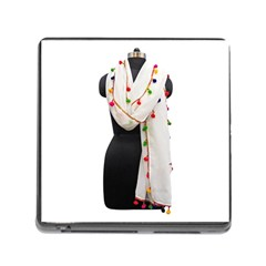 Indiahandycrfats Women Fashion White Dupatta With Multicolour Pompom All Four Sides For Girls/women Memory Card Reader (square 5 Slot) by Indianhandycrafts