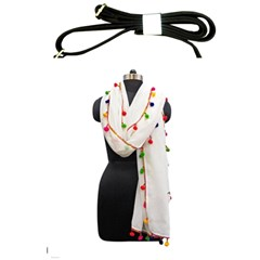 Indiahandycrfats Women Fashion White Dupatta With Multicolour Pompom All Four Sides For Girls/women Shoulder Sling Bag by Indianhandycrafts