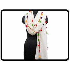 Indiahandycrfats Women Fashion White Dupatta With Multicolour Pompom All Four Sides For Girls/women Fleece Blanket (large)  by Indianhandycrafts