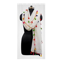 Indiahandycrfats Women Fashion White Dupatta With Multicolour Pompom All Four Sides For Girls/women Shower Curtain 36  X 72  (stall)  by Indianhandycrafts