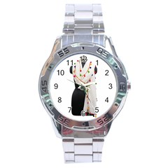 Indiahandycrfats Women Fashion White Dupatta With Multicolour Pompom All Four Sides For Girls/women Stainless Steel Analogue Watch by Indianhandycrafts