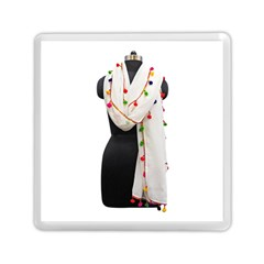 Indiahandycrfats Women Fashion White Dupatta With Multicolour Pompom All Four Sides For Girls/women Memory Card Reader (square) by Indianhandycrafts