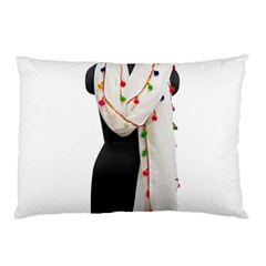 Indiahandycrfats Women Fashion White Dupatta With Multicolour Pompom All Four Sides For Girls/women Pillow Case (two Sides) by Indianhandycrafts