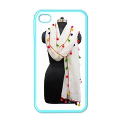 Indiahandycrfats Women Fashion White Dupatta With Multicolour Pompom All Four Sides For Girls/women Apple Iphone 4 Case (color) by Indianhandycrafts