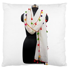Indiahandycrfats Women Fashion White Dupatta With Multicolour Pompom All Four Sides For Girls/women Large Cushion Case (two Sides) by Indianhandycrafts