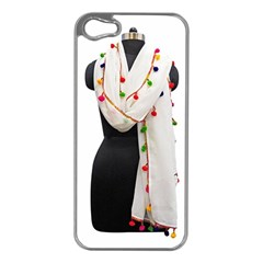 Indiahandycrfats Women Fashion White Dupatta With Multicolour Pompom All Four Sides For Girls/women Apple Iphone 5 Case (silver) by Indianhandycrafts