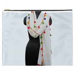Indiahandycrfats Women Fashion White Dupatta With Multicolour Pompom All Four Sides For Girls/women Cosmetic Bag (xxxl) by Indianhandycrafts