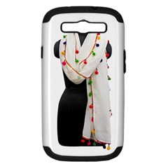 Indiahandycrfats Women Fashion White Dupatta With Multicolour Pompom All Four Sides For Girls/women Samsung Galaxy S Iii Hardshell Case (pc+silicone) by Indianhandycrafts