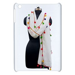 Indiahandycrfats Women Fashion White Dupatta With Multicolour Pompom All Four Sides For Girls/women Apple Ipad Mini Hardshell Case by Indianhandycrafts