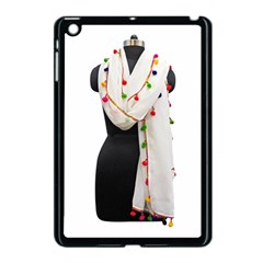 Indiahandycrfats Women Fashion White Dupatta With Multicolour Pompom All Four Sides For Girls/women Apple Ipad Mini Case (black) by Indianhandycrafts