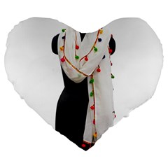 Indiahandycrfats Women Fashion White Dupatta With Multicolour Pompom All Four Sides For Girls/women Large 19  Premium Heart Shape Cushions by Indianhandycrafts
