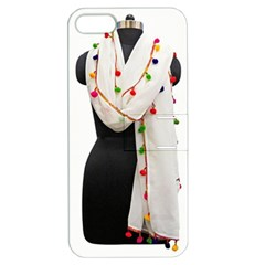 Indiahandycrfats Women Fashion White Dupatta With Multicolour Pompom All Four Sides For Girls/women Apple Iphone 5 Hardshell Case With Stand by Indianhandycrafts