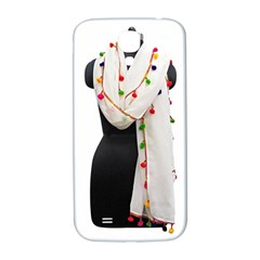 Indiahandycrfats Women Fashion White Dupatta With Multicolour Pompom All Four Sides For Girls/women Samsung Galaxy S4 I9500/i9505  Hardshell Back Case by Indianhandycrafts