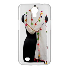 Indiahandycrfats Women Fashion White Dupatta With Multicolour Pompom All Four Sides For Girls/women Samsung Galaxy Mega 6 3  I9200 Hardshell Case by Indianhandycrafts