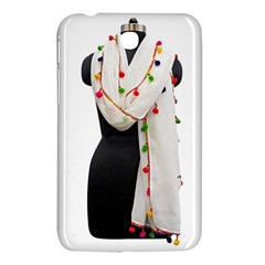 Indiahandycrfats Women Fashion White Dupatta With Multicolour Pompom All Four Sides For Girls/women Samsung Galaxy Tab 3 (7 ) P3200 Hardshell Case  by Indianhandycrafts
