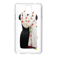 Indiahandycrfats Women Fashion White Dupatta With Multicolour Pompom All Four Sides For Girls/women Samsung Galaxy Note 3 N9005 Case (white) by Indianhandycrafts