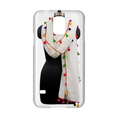 Indiahandycrfats Women Fashion White Dupatta With Multicolour Pompom All Four Sides For Girls/women Samsung Galaxy S5 Hardshell Case  by Indianhandycrafts